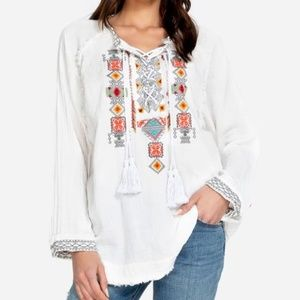 Johnny Was Embroidered Lace Up Tunic Top